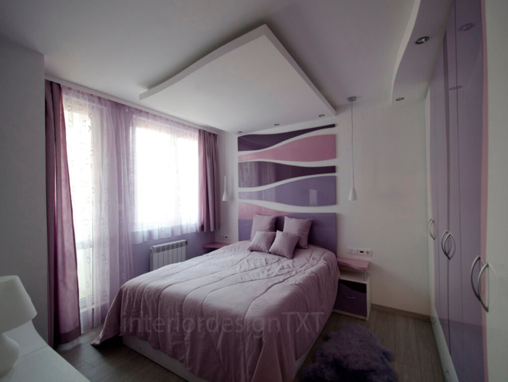 Bedroom in violet colors interior design txt for Interior design bedroom color schemes