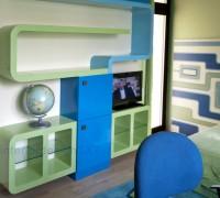 Modern colored shelves