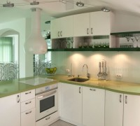 Kitchen in white and green
